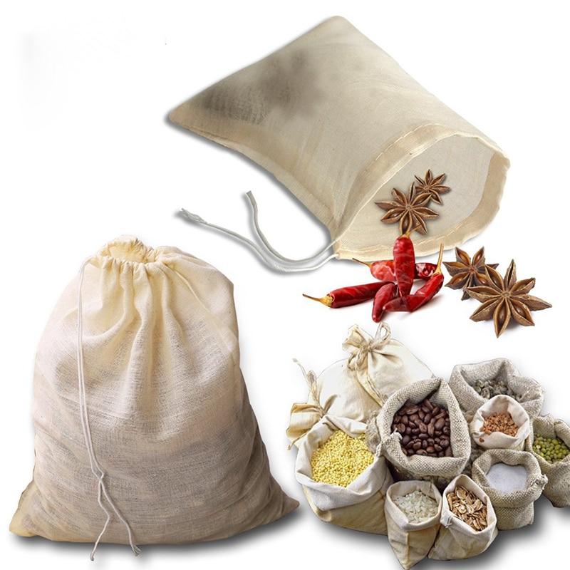 UPORS 10Pcs/Set Reusable Tea Bag Natural Unbleached Cotton Tea Filter Bag Portable Drawstring Strainer Spice Tea Bag For Kitchen