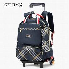 Waterproof Trolley Backpack Boys Girls Children School Bag Wheels Travel Bag Luggage Backpack Kids Rolling Detachable Schoolbags недорого