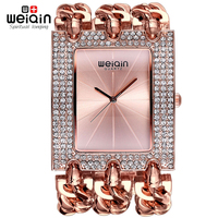 WEIQIN Ladies Bracelet Watches For Women Silver Rhinestone Square Dial Bangle Watch Female Wristwatch Reloj Relogios