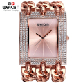 WEIQIN Ladies Bracelet Watches for Women Silver Rhinestone Square Dial Bangle Watch Female Wristwatch reloj relogios femininos