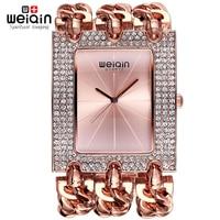 WEIQIN Ladies Bracelet Watches For Women Silver Rhinestone Square Dial Bangle Watch Female Wristwatch Reloj Relogios