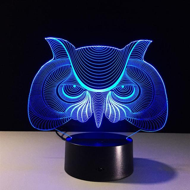3D Lamp Visual Light Effect Touch Switch & Remote Control Colors Changes Night Light (Owl)