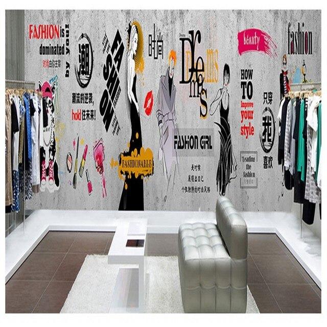 Papier Peint Photo Style Industriel Ciment Mur Vêtements Boutique