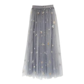 245e4d1a83d Юбка в сеточку Женская летняя обувь 2018 г. Новый дизайн женские элегантные  Звезда вышивка юбки наивысшего качества