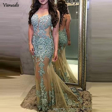 Sexy Mermaid Prom Dresses 2019 Lace Appliques See Through Evening Dress Sleeveless Sheer Back Formal Party Gowns цена и фото