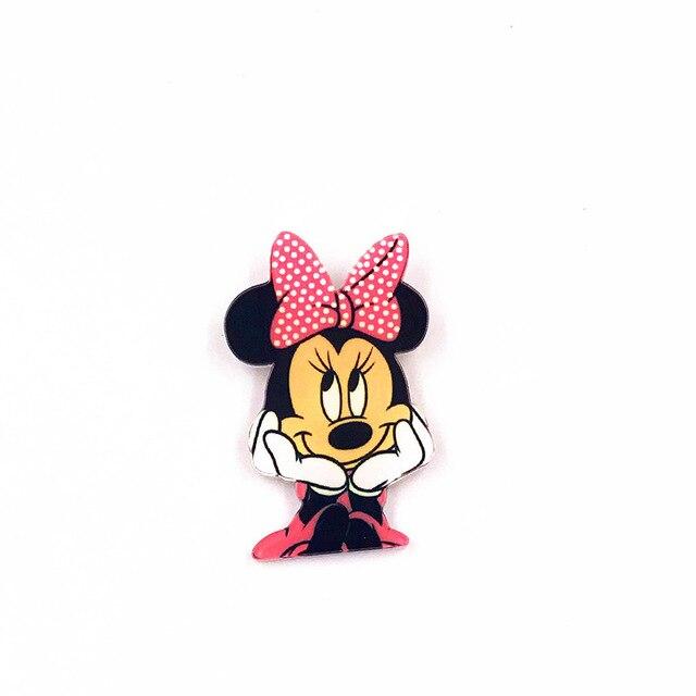 1 шт. очаровательные комбинезоны с рисунком «Микки Маус» Аксессуары Minnie Kawaii аниме значки с героями мультфильмов акриловые заколки Брошь на рюкзак сумки декоративные для девочек подарок на день рождения - Цвет: Темно-коричневый