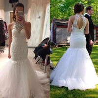 Gorgeous Crystal Mermaid Gown Vestido De Noiva Open Back O Neck Lace Appliques Wedding Party Dress Custom Made