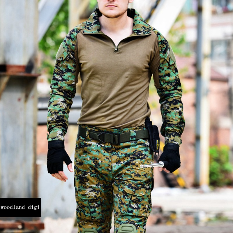 Tactical Camouflage Military Uniform Clothes Suit Men US Army Multicam Hunting Militar Combat Shirt + Cargo Pants Knee Pads camouflage tactical military clothing paintball army cargo pants combat trousers multicam militar tactical shirt with knee pads