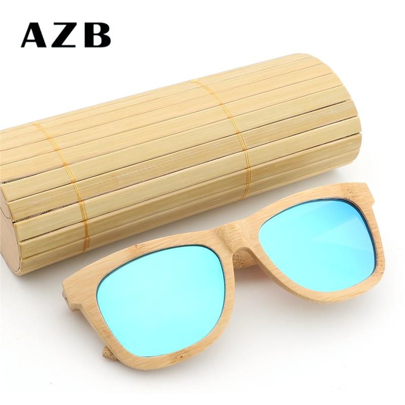 AZB 2018 Vintage bambú piernas de madera gafas de sol hombres - Accesorios para la ropa - foto 4