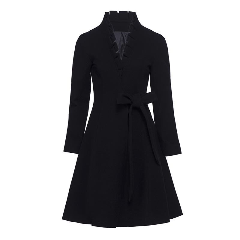 Sisijuly Women's Overcoat Casual Solid Black Mid-Length V-Neck Hemline Belt&Fallbala Autumn&Winter Girl's New Arrivals Coat