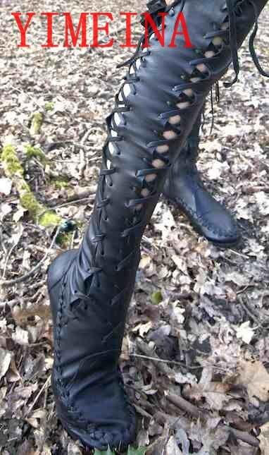 Donne di Stile occidentale Stivali Alti Donna Celebrity Moto Stivali Donna Sopra il ginocchio Scarpe Lace Up Appartamenti Stival il segreto di bosco vecchio