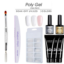 6Pcs/set Nails Kit 15ml Uv Gel French Nails Art Manicure Tips Nails Build Extending Crystal Jelly Gum Poly Gel Tool Set 4pcs set poly gel set nails kit uv gel french nails art manicure tips builder extending crystal jelly gum hard gel builder gel