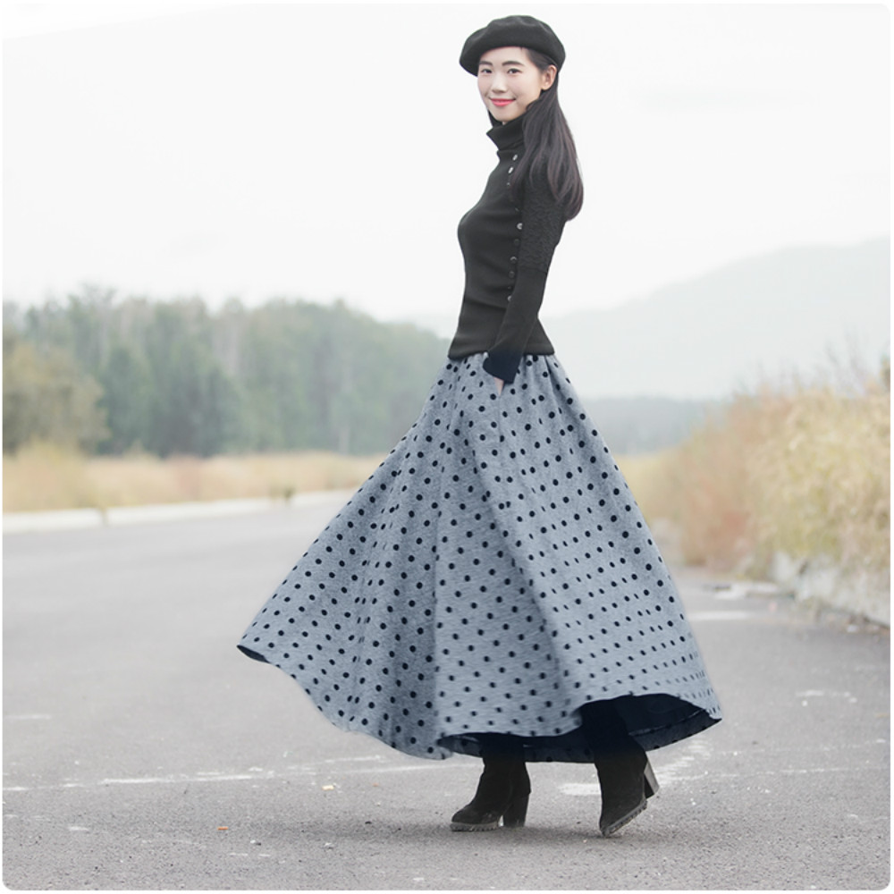 New Women s Skirts Woolen 2018 Spring Winter Dots Printed A line Long Feminine Vintage Casual