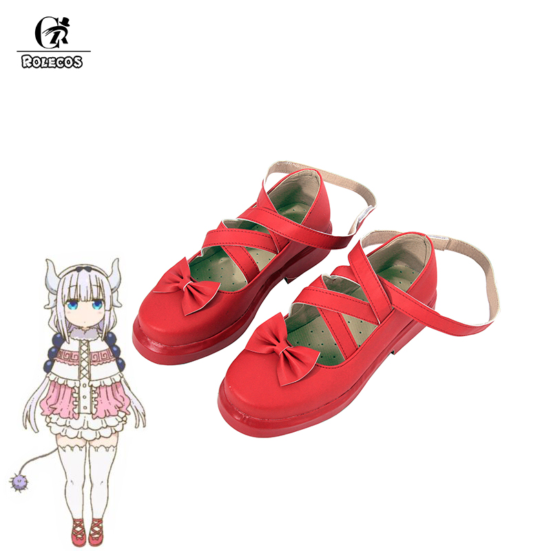 ROLECOS Anime Kobayashi-san Chi no Maid Dragon Cosplay Shoes Kamui Kanna Cosplay Red Lolita Shoes for Women Cosplay Shoes
