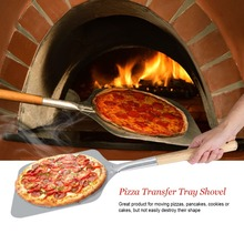 66cm Aluminum Pizza Peel Shovel with Wood Handle Silver Cheese Cutter Cake Square Bakeware Cookware