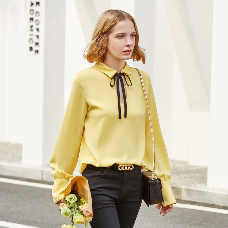 Bow Blouses Female Tie Sleeve Spring Beige Shirts Solid Amii Lantern Women Long Out Blouse Blouses yellow Loose Minimalist 2019 Office black Elegant Blouses Hollow White awP4S