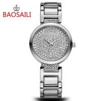 BAOSAILI Rhinestone Women Watches Fashion Crystal Quartz Watch Luxury Brand Ladies Wrist Watch Full Steel Strap