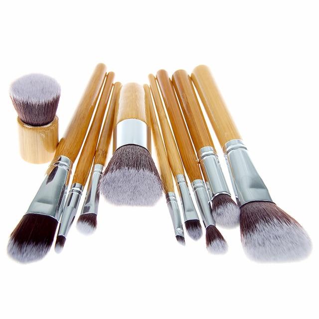 10 PCS Pro Cosméticos escova de Bambu do Punho Pincéis de Maquiagem Sintéticos Kit maquiagem ferramentas jogo de escova Frete Grátis
