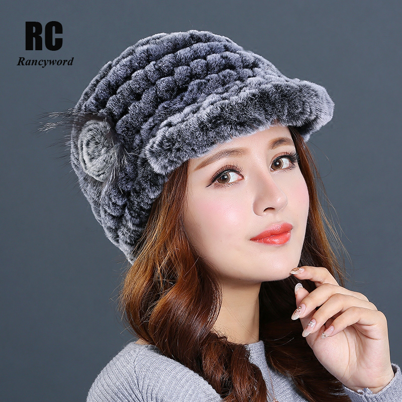 [Rancyword] Women Hat Beanies 2018 New Real Rex Rabbit Fur Hat Cap Female Thick Cap Mink Fur Hat For Women Hats Winter RC1400