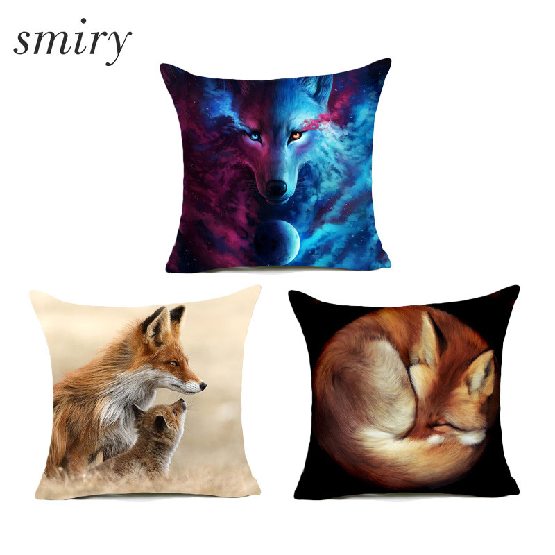 Fashion Animal Cushion Cover 3d Print And Sketch Two Styles Beautiful Fox Pillow Cover Invisible Zipper