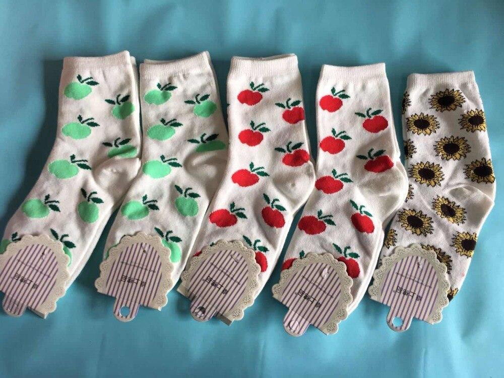 NEW Autumn and winter ladies cherry sunflower cute cotton comfortable warm socks wholesale 5pairlot