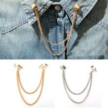 63b8ee618cd1 Las mujeres de camisas Collar cuello broche Pin cadena borlas Punk gótico  para los hombres y las mujeres traje de accesorios