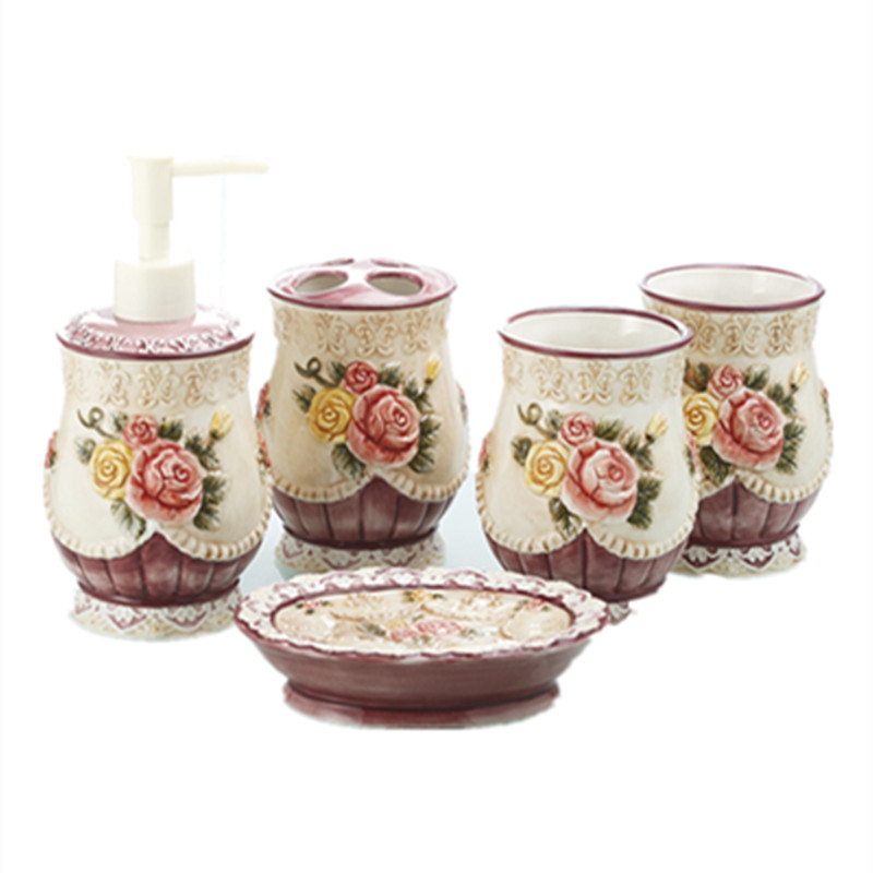 Pink Bathroom Accessories Sets.Us 116 76 16 Off Ceramic Wedding Bathroom Accessories Set Pink Flowers Toothbrush Holder Soap Dish Kit Home Decor Handicraft Porcelain Figurine In