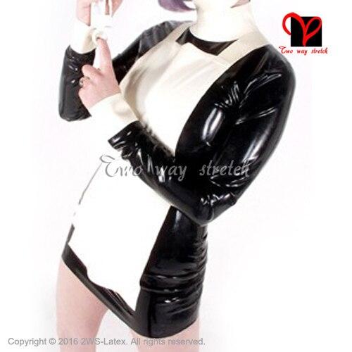 Sexy Nurse set with apron Gummi Skater baby doll flares suit black white XXXL Latex Maid uniform Rubber dress plus size QZ-098