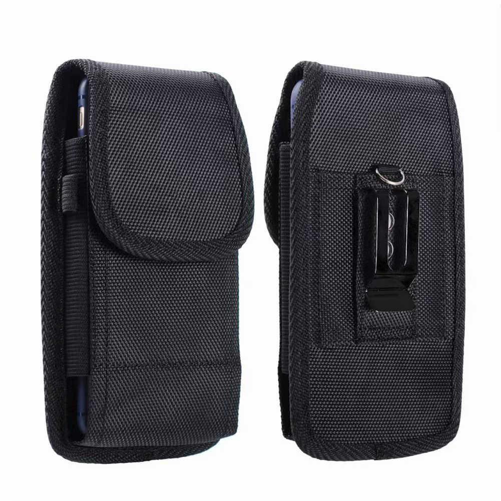 ポータブル固体黒電話ポーチファニーパックベルトクリップカラビナウエストなし収納袋女性男性の屋外電話バッグ
