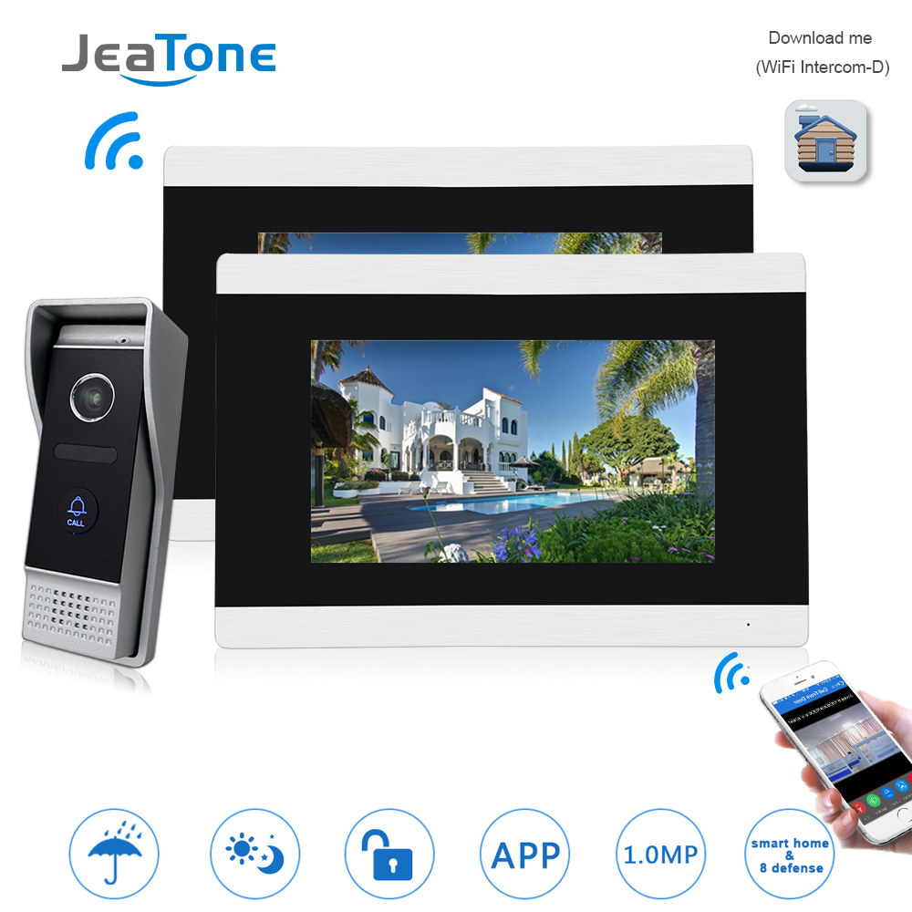 JeaTone 7'' Touch Screen WIFI IP Video Door Phone Video Intercom Doorbell Apartment Access Control System Motion Detection 1-2