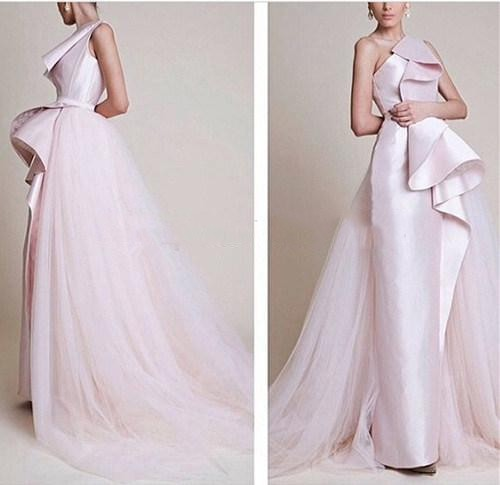 Simple One Shoulder Sheath Sleeveless Zipper Sweep Train Pink Satin Tulle Formal Evening Gown Mother Of The Bride Dresses