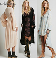 Spring Summer Autumn new women Long Sleeve Deep V-neck Maxi Bohemia Loose Vintage Embroider dresses Sexy Retro hippie chic L-888