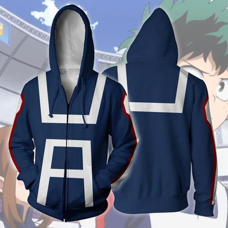 My Hero Academia 3D Cosplay Hoodies Todoroki Shoto Midoriya Izuku OCHACO URARAKA Bakugou Katsuki Costume Sweatshirt Jacket