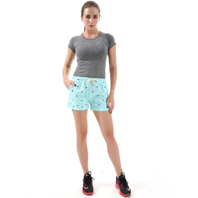 Women's home casual elastic waist cotton shorts printed cat pumping self-cultivation shorts candy shorts 9