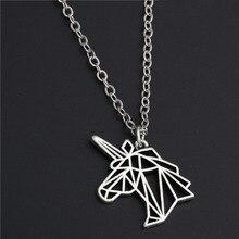1 шт серебряное ожерелье с головой единорога ожерелье оригами подарок на день рождения ювелирные изделия для женщин E201