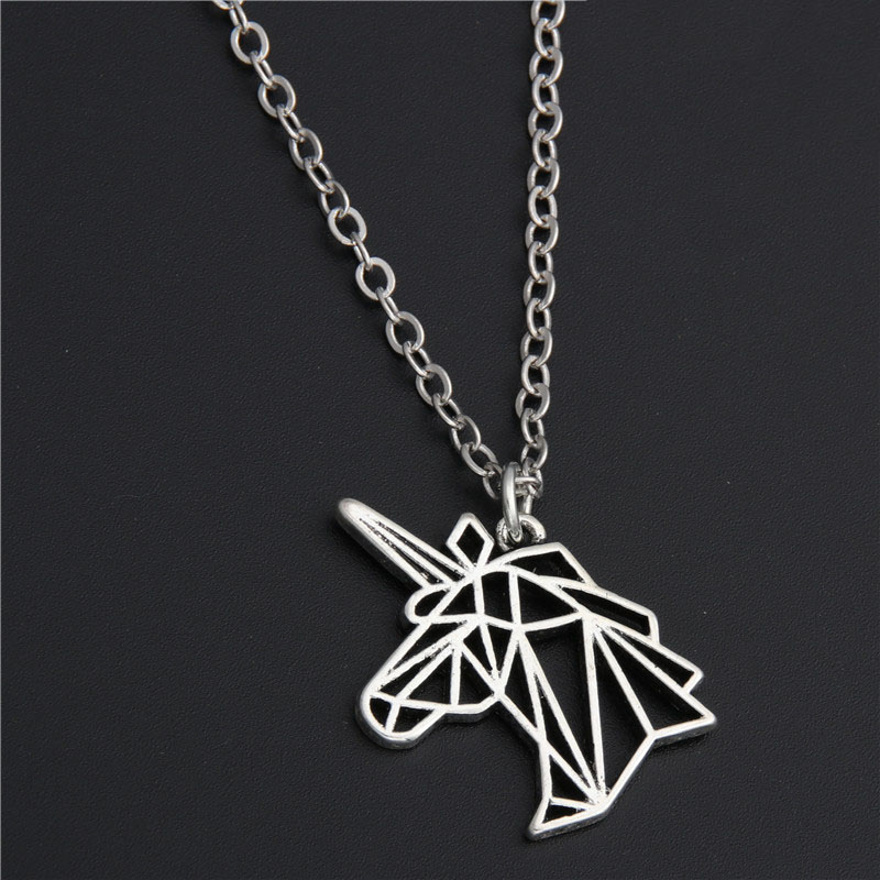 1pc Silver Unicorn Head Necklace Origami Necklace Birthday Gift Jewelry Women E201