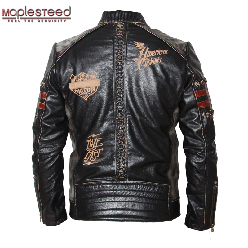 MAPLESTEED Motorcycle Jacket Men's Genuine Leather Jacket Cowhide Calf Skin Black Slim Men's Leather Jacket Male Biker Coat 094