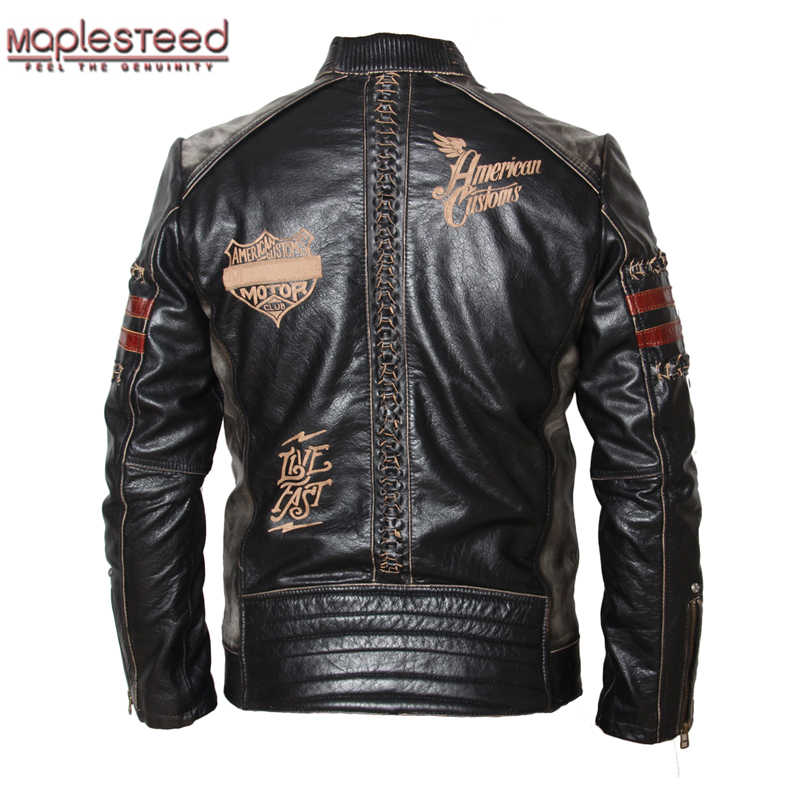 ff725f3b018 Maplesteed мотоциклетная куртка Для мужчин натуральной кожи куртка  натуральной телячьей кожи черный тонкий Для мужчин кожаная