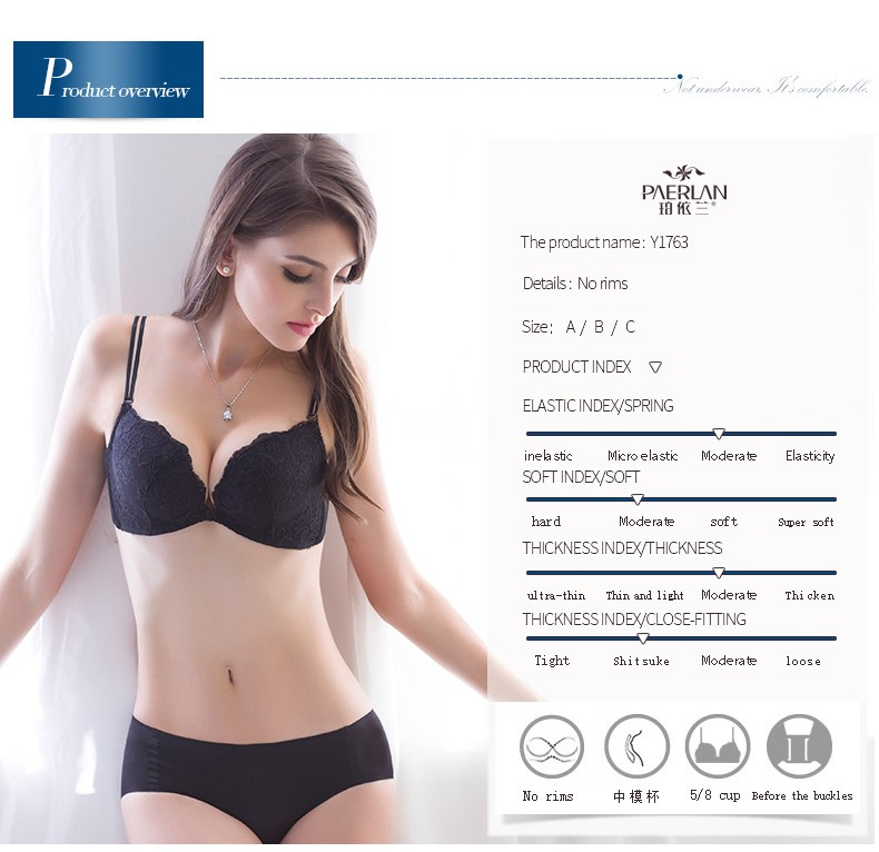 d8356d01fe PAERLAN Sexy Lace Color Block A Piece Glossy Seamless Push Up Wire Free Underwear  Women Wireless Front Button Female BraUSD 19.99 piece