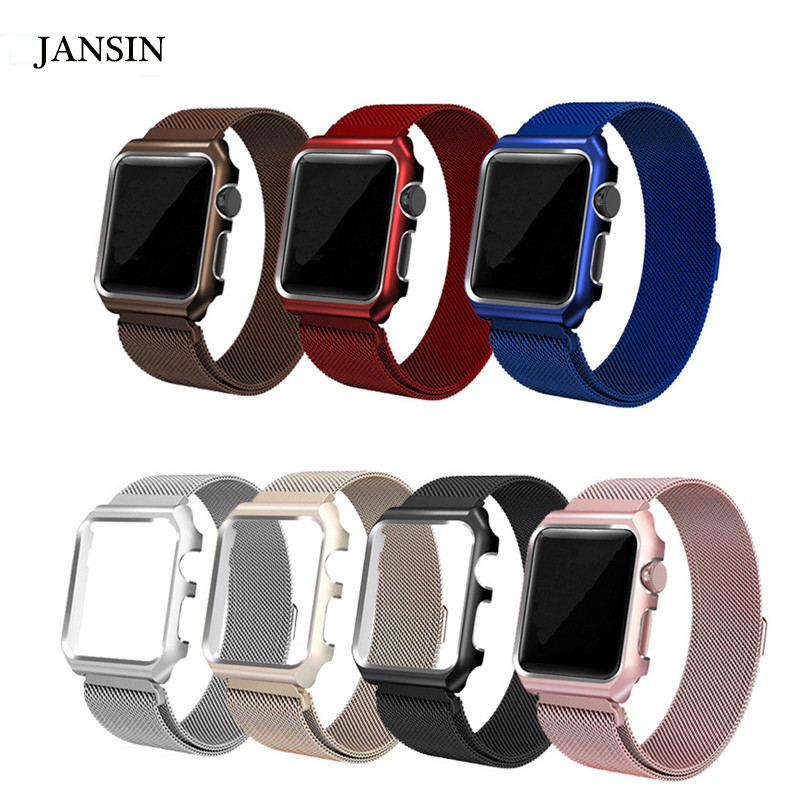 JANSIN Milanese Loop For Apple Watch band 42mm/38mm iwatch 3 2 1 wrist band strap Stainless Steel band Link Bracelet belt case 16 18 20 22 mm silver black gold rose gold ultra thin mesh milanese loop stainless steel bracelet wrist watch band strap belt