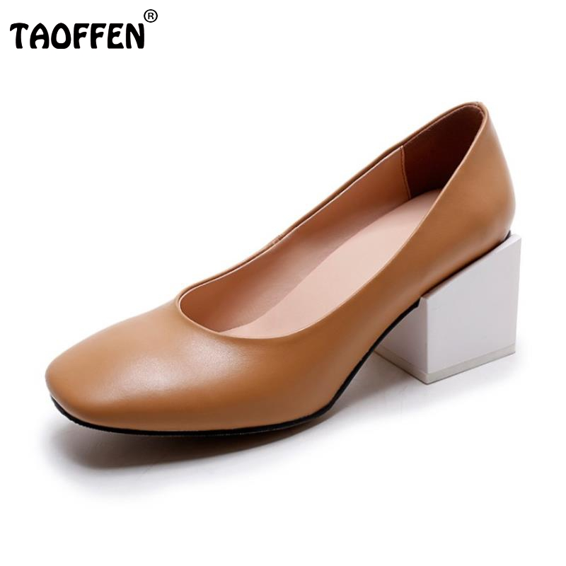 Ladies New Genuine Leather High Heels Shoes Women Square Heels Pumps Classics Square Toe Slip-On Fashion Footwear Size 34-39 vinlle 2017 women pumps college style square med heel vintage slip on pu leather shoes casual round toe girl shoes size 34 40