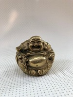 Pure copper Maitreya buddha laughing belly bronze statue home office decoration.