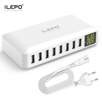 iLEPO 8 Port Smart USB Charger High quality Phone Charging Station 5V 8A For Xiaomi Huawei Samsung iPhone Tablet power bank