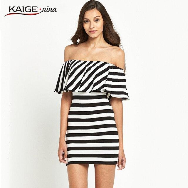Nina summer style Off Shoulder Sexy Mini Beach Casual Dresses Cotton  Striped Ruffle Bardot