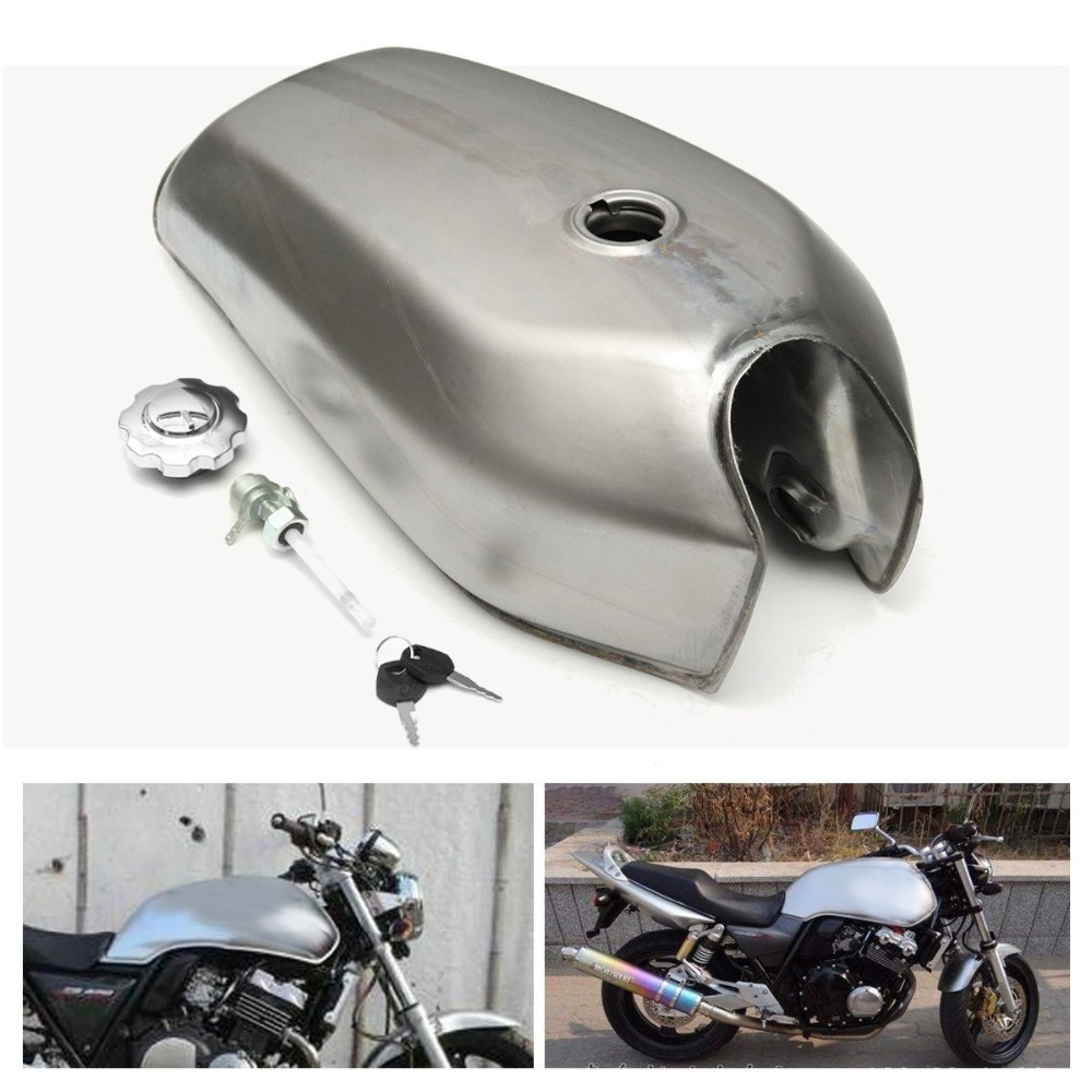Motorcycle 9L 2.4 Gallon Universal Fuel Gas Tank for Honda CG125 Cafe Racer motorcycle 9l black cafe racer gas capacity tank universal fuel tank with thick iron cap switch for honda cg125 cg125s cg250