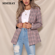 England Casual Double Breasted Plaid Blazer Women Fall Long