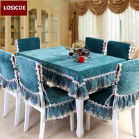 New luxurious gold velvet waterproof table cloth cushion chair cover 3 style Solid color quilted Lace embroidered tablecloths