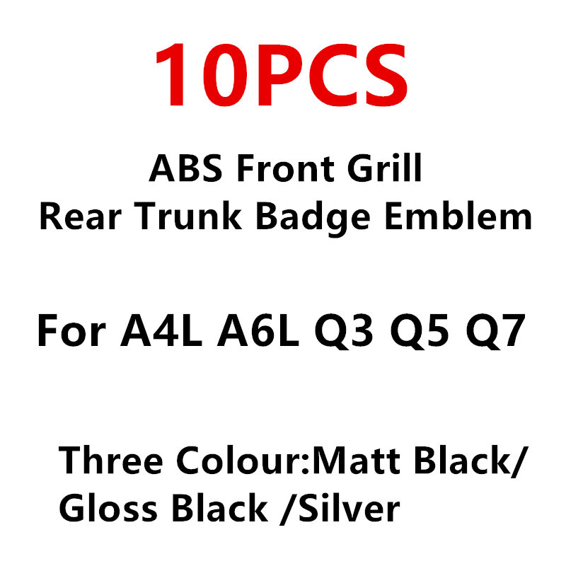 10PCS Car Styling 3D ABS Plastic 4 Ring Black Carbon Chrome Front Grill Rear Trunk Badge