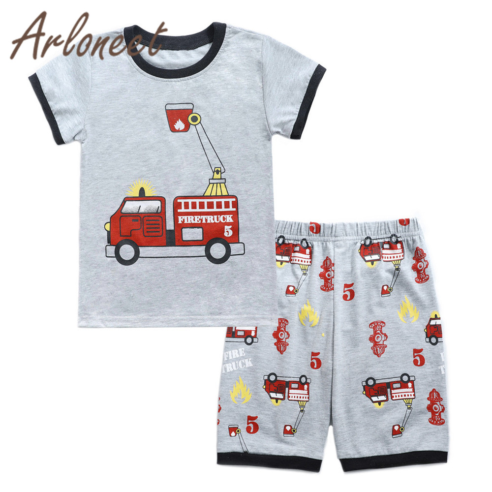 Temperate Arloneet Clothes Children Boys Cartoon T Shirt Car Shorts Funny Kids Tops Beach Shirt For Boys 2pcs 2019 Summer Baby Boy Outfits An Indispensable Sovereign Remedy For Home Boys' Clothing