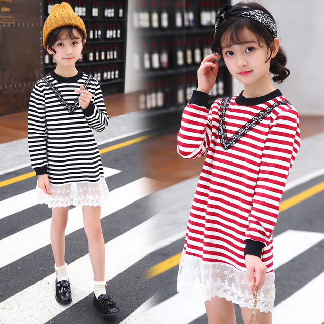 0812bf5cb girls casual dress 2018 SPRING long sleeve lace costume for girls ...